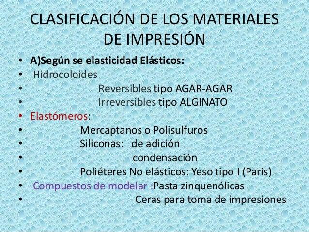 Clasificacion de los materiales de impresion dental for Calco con alginato