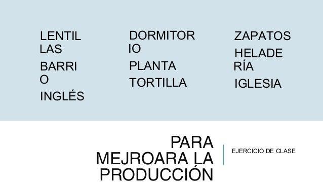 PARA MEJROARA LA PRODUCCIÓN LENTIL LAS BARRI O INGLÉS DORMITOR IO PLANTA TORTILLA EJERCICIO DE CLASE ZAPATOS HELADE RÍA IG...