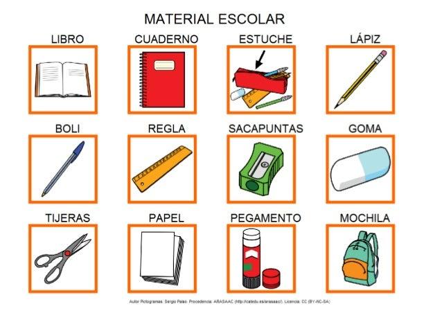 Material escolar for Material de oficina en ingles