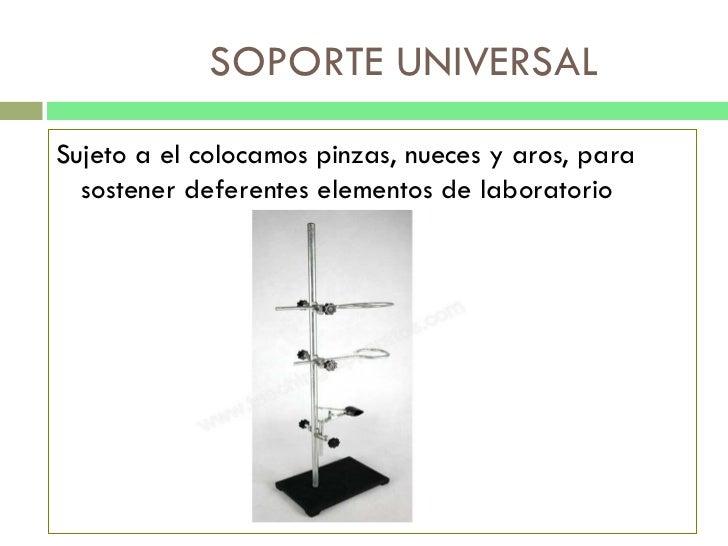 SOPORTE UNIVERSAL <ul><li>Sujeto a el colocamos pinzas, nueces y aros, para sostener deferentes elementos de laboratorio <...