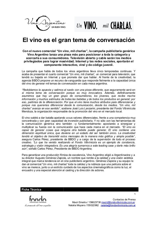 """El vino es el gran tema de conversación Con el nuevo comercial """"Un vino, mil charlas"""", la campaña publicitaria genérica Vi..."""