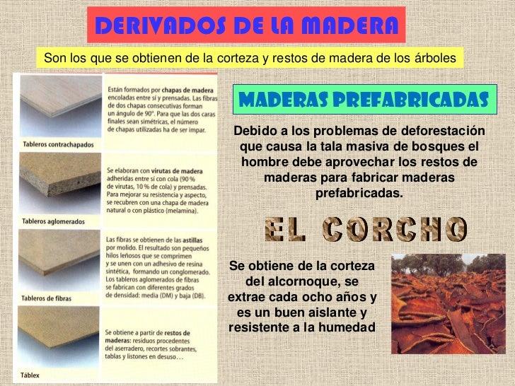 DERIVADOS DE LA MADERASon los que se obtienen de la corteza y restos de madera de los árboles                             ...