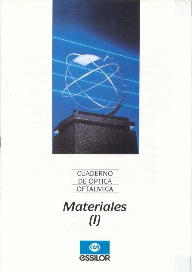 CUADERNO DE ÓPTICA OFTÁLMICA  Materiales  {l}  GSSILOR