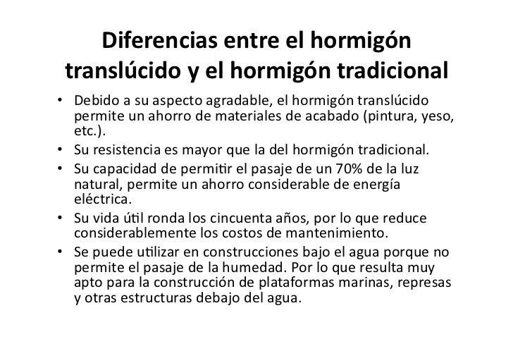 sistema construccvo 6 diferencias entre el hormign translcido