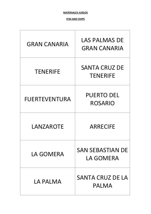MATERIALES JUEGOS FISH AND CHIPS GRAN CANARIA LAS PALMAS DE GRAN CANARIA TENERIFE SANTA CRUZ DE TENERIFE FUERTEVENTURA PUE...