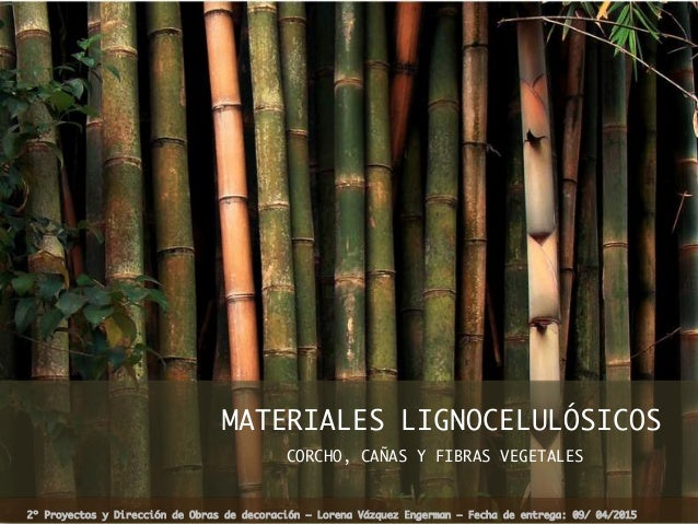 MATERIALES LIGNOCELULÓSICOS CORCHO, CAÑAS Y FIBRAS VEGETALES  2º Proyectos y Dirección de Obras de decoración – Lorena Váz...