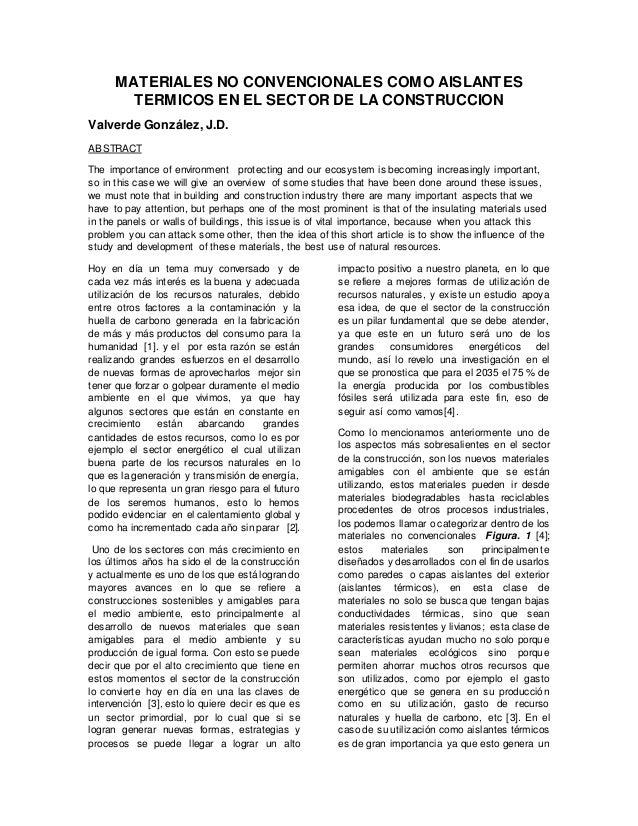 Materiales no convencionales como aislantes t rmicos en el - Materiales aislantes termicos ...