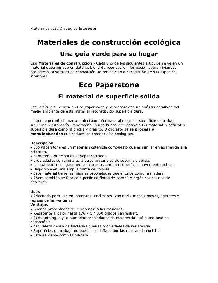 Materiales para Diseño de Interiores       Materiales de construcción ecológica                       Una guía...