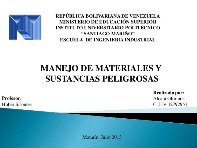 """REPÚBLICA BOLIVARIANA DE VENEZUELA MINISTERIO DE EDUCACIÓN SUPERIOR INSTITUTO UNIVERSITARIO POLITÉCNICO """"SANTIAGO MARIÑO"""" ..."""