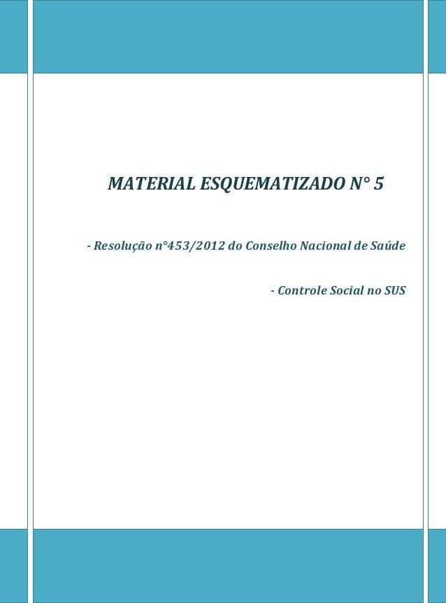 MATERIAL ESQUEMATIZADO N° 5  - Resolução n°453/2012 do Conselho Nacional de Saúde  - Controle Social no SUS