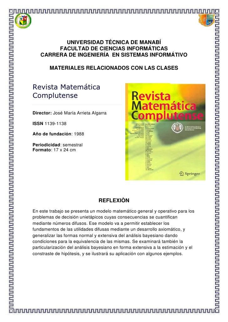 UNIVERSIDAD TÉCNICA DE MANABÍ        FACULTAD DE CIENCIAS INFORMÁTICAS   CARRERA DE INGENIERÍA EN SISTEMAS INFORMÁTIVO    ...