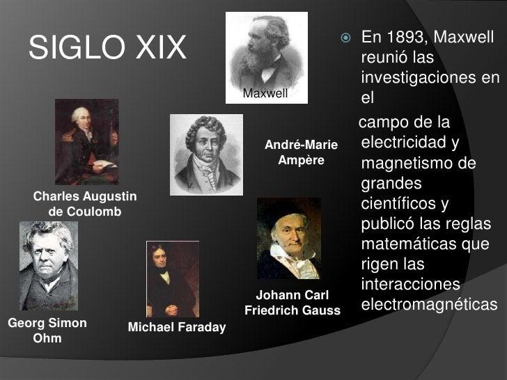 SIGLO XIX<br />En 1893, Maxwell reunió las investigaciones en el<br />    campo de la electricidad y magnetismo de grandes...