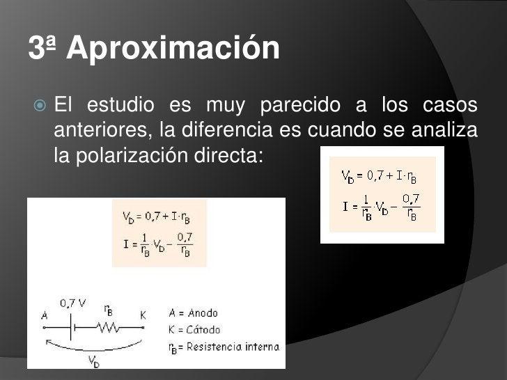 2ª Aproximación<br />La exponencial se aproxima a una vertical y a una horizontal que pasan por 0,7 V (este valor es el va...
