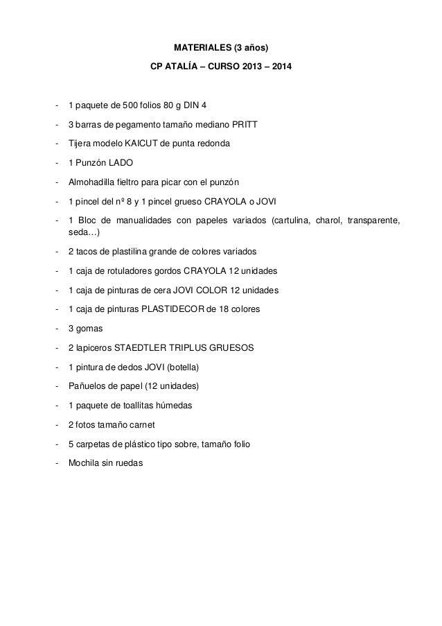 MATERIALES (3 años)CP ATALÍA – CURSO 2013 – 2014- 1 paquete de 500 folios 80 g DIN 4- 3 barras de pegamento tamaño mediano...