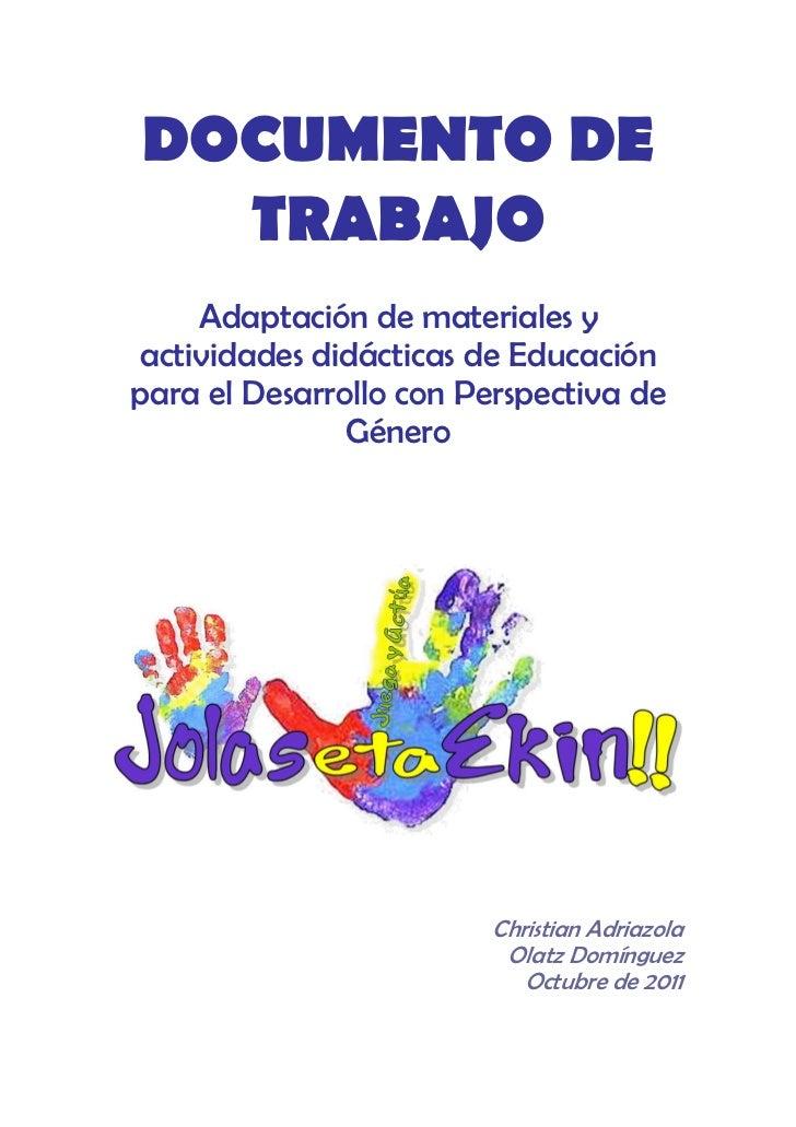 Materiales y actividades didácticas de ep d con perspectiva de género