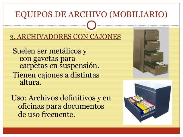 Materiales y equipos de archivo for Mobiliario y equipo