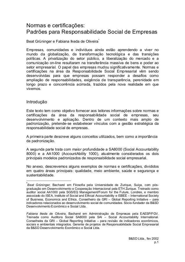 B&SD Ltda., fev 2002 p.1 Normas e certificações: Padrões para Responsabilidade Social de Empresas Beat Grüninger e Fabiana...