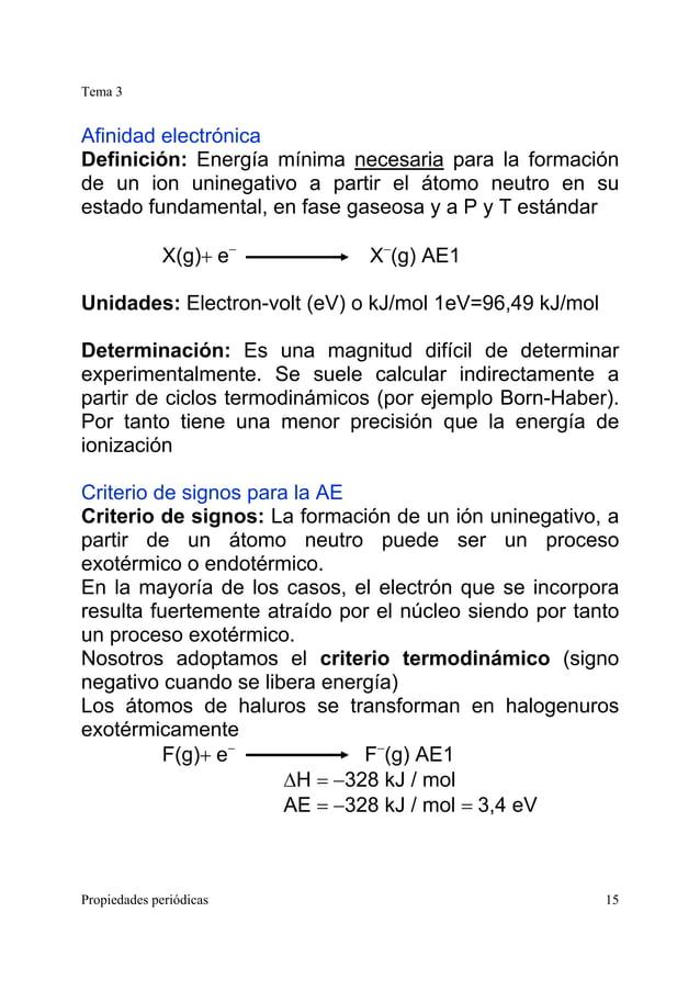 Tema 3 Propiedades periódicas 15 Afinidad electrónica Definición: Energía mínima necesaria para la formación de un ion uni...