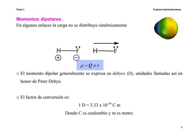 Tema 1. Fuerzas intermoleculares 8 Momentos dipolares. En algunos enlaces la carga no se distribuye simétricamente o El mo...