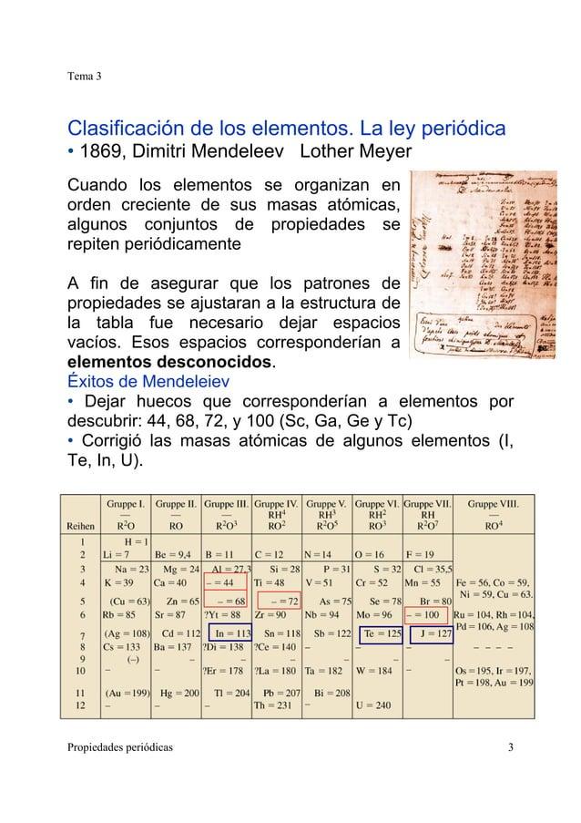 Tema 3 Propiedades periódicas 3 Clasificación de los elementos. La ley periódica • 1869, Dimitri Mendeleev Lother Meyer Cu...