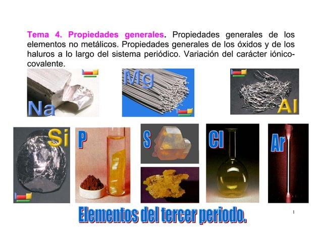 1 Tema 4. Propiedades generales. Propiedades generales de los elementos no metálicos. Propiedades generales de los óxidos ...