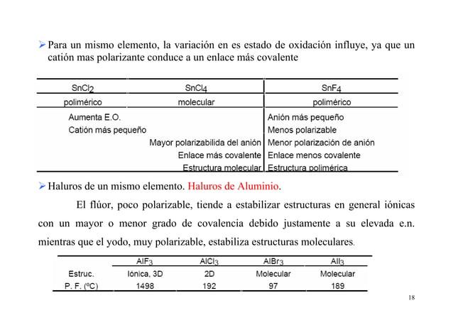 18 Para un mismo elemento, la variación en es estado de oxidación influye, ya que un catión mas polarizante conduce a un e...