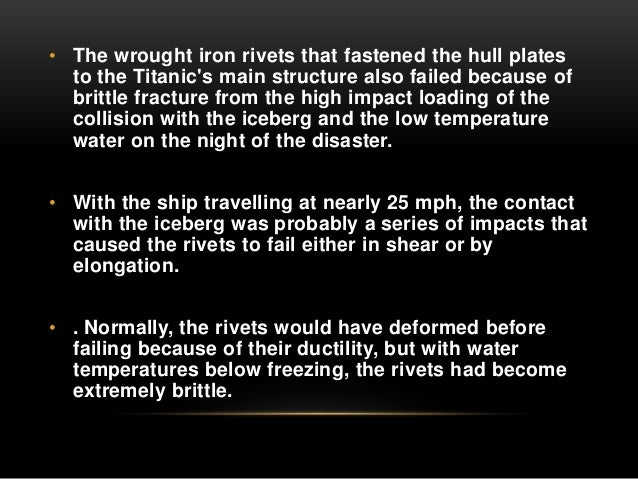 design flaws on the titanic The flaws, uncovered by researchers who found, filmed and analysed previously undiscovered portions of the titanic's keel, also reduced the length of time the vessel remained afloat after hitting the iceberg on april 14, 1912 - scuppering the chances of rescue boats sent to the scene arriving in time and thus condemning hundreds of passengers and crew stranded on board to death.