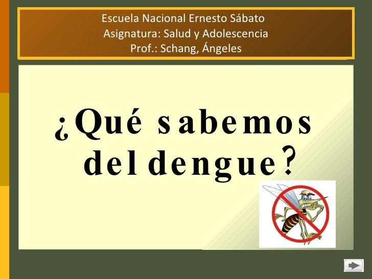 Escuela Nacional Ernesto Sábato  Asignatura: Salud y Adolescencia Prof.: Schang, Ángeles <ul><li>¿ Qué sabemos del dengue?...