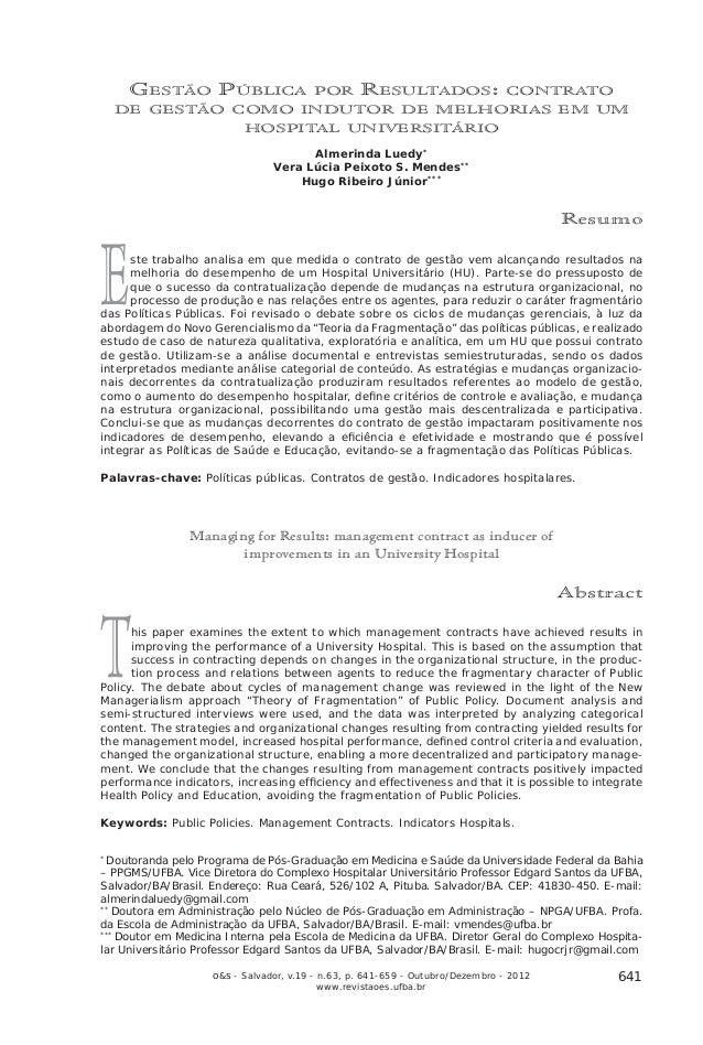 Gestão Pública por Resultados: contrato de gestão como indutor de melhorias em um hospital universitário   GESTÃO PÚBLICA ...