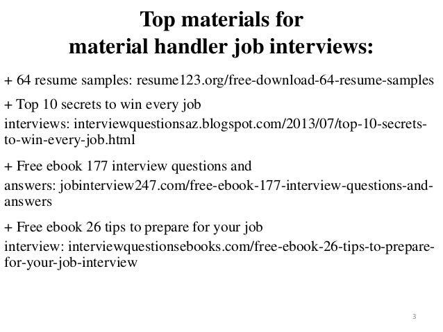 Material Handler Resume Sample Pdf Ebook Free Download