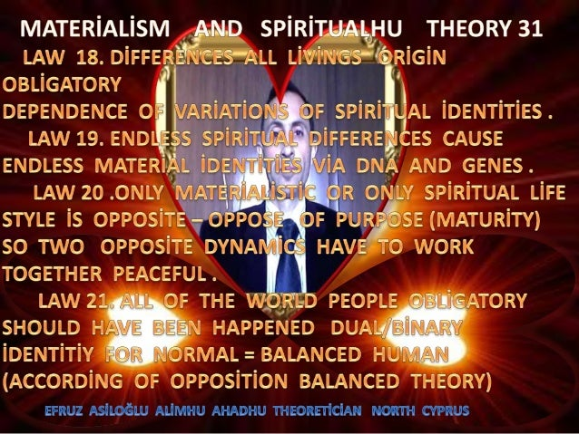 Materi̇ali̇sm  and  spi̇ri̇tualhu  theory  31  d