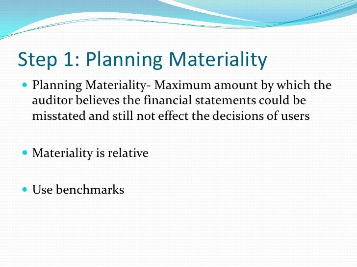 planning materiality and tolerable misstatement