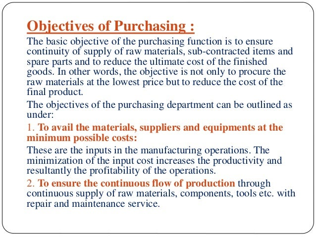 objectives of purchasing management