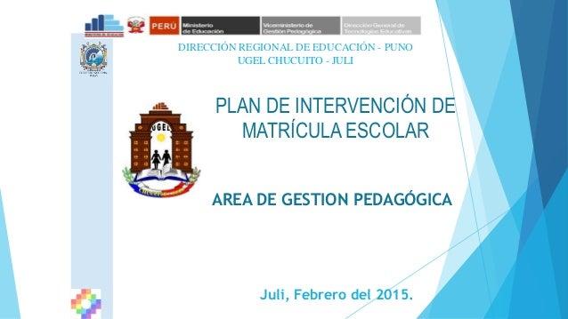 Juli, Febrero del 2015. DIRECCIÓN REGIONAL DE EDUCACIÓN - PUNO PLAN DE INTERVENCIÓN DE MATRÍCULA ESCOLAR AREA DE GESTION P...