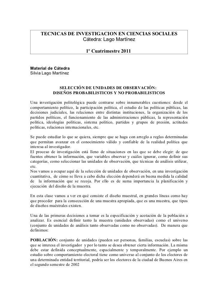 TECNICAS DE INVESTIGACION EN CIENCIAS SOCIALES                    Cátedra: Lago Martínez                                1º...