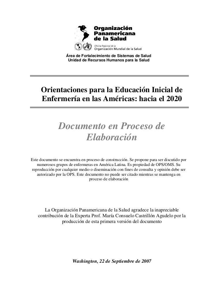 Área de Fortalecimiento de Sistemas de Salud                     Unidad de Recursos Humanos para la Salud     Orientacione...