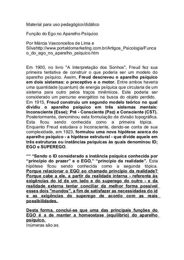 Material para uso pedagógico/didáticoFunção do Ego no Aparelho PsíquicoPor Márcia Vasconcellos de Lima eSilvahttp://www.po...