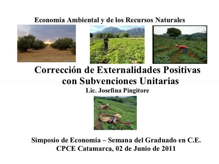 Economía Ambiental y de los Recursos Naturales <ul><ul><li>Corrección de Externalidades Positivas con Subvenciones Unitari...