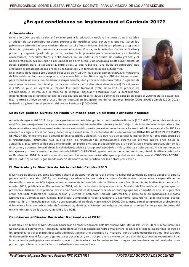 REFLEXIONEMOS SOBRE NUESTRA PRÁCTICA DOCENTE PARA LA MEJORA DE LOS APRENDIZAJES Facilitadora:Mg.IselaGuerrero Pacheco RPC ...