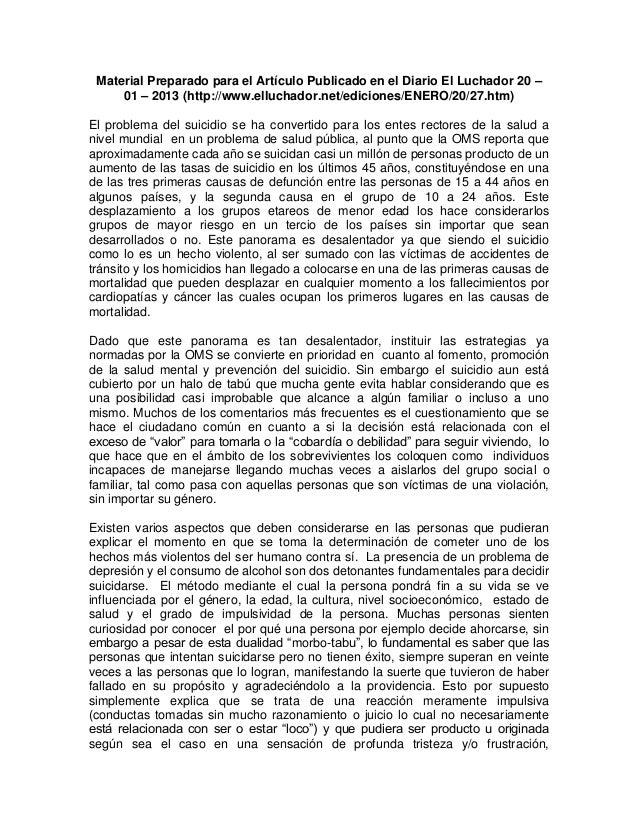 Material Preparado para el Artículo Publicado en el Diario El Luchador 20 –     01 – 2013 (http://www.elluchador.net/edici...
