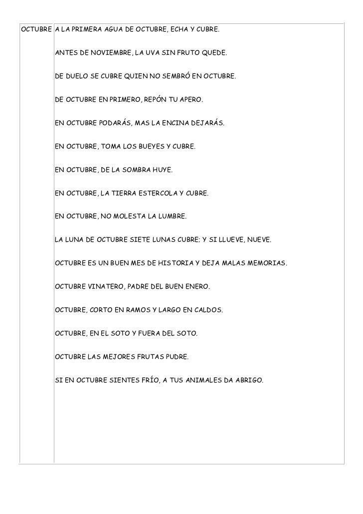 OCTUBRE A LA PRIMERA AGUA DE OCTUBRE, ECHA Y CUBRE.        ANTES DE NOVIEMBRE, LA UVA SIN FRUTO QUEDE.        DE DUELO SE ...