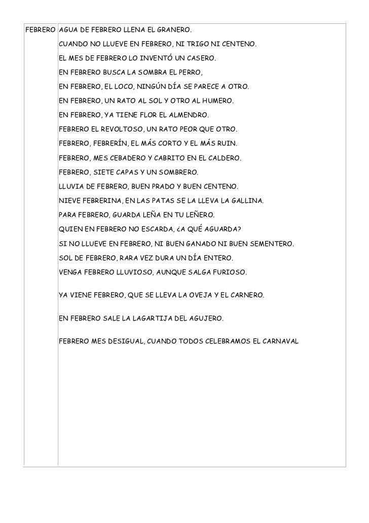 FEBRERO AGUA DE FEBRERO LLENA EL GRANERO.        CUANDO NO LLUEVE EN FEBRERO, NI TRIGO NI CENTENO.        EL MES DE FEBRER...