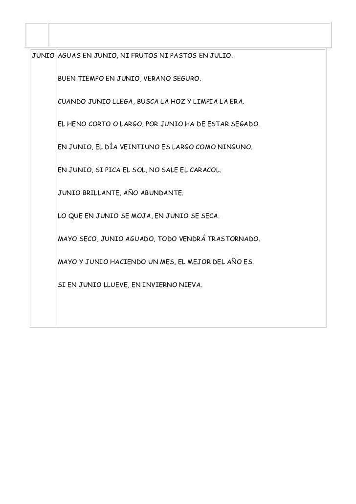 JUNIO AGUAS EN JUNIO, NI FRUTOS NI PASTOS EN JULIO.      BUEN TIEMPO EN JUNIO, VERANO SEGURO.      CUANDO JUNIO LLEGA, BUS...