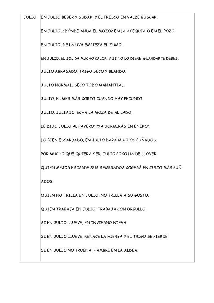 JULIO   EN JULIO BEBER Y SUDAR, Y EL FRESCO EN VALDE BUSCAR.        EN JULIO, ¿DÓNDE ANDA EL MOZO? EN LA ACEQUIA O EN EL P...