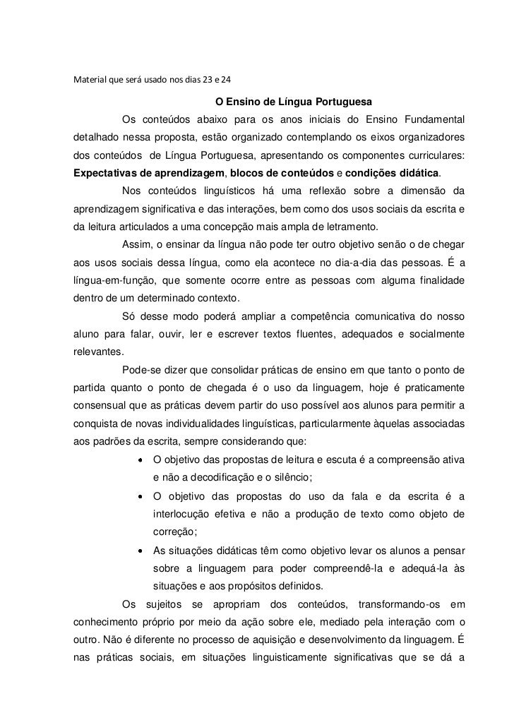 Material que será usado nos dias 23 e 24                                   O Ensino de Língua Portuguesa            Os con...
