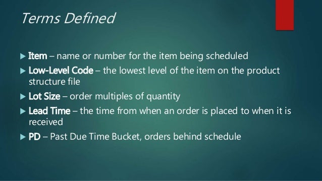 Terms Defined  Item – name or number for the item being scheduled  Low-Level Code – the lowest level of the item on the ...