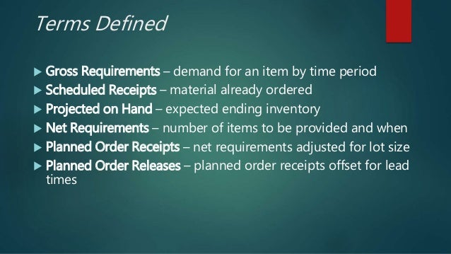 Terms Defined  Gross Requirements – demand for an item by time period  Scheduled Receipts – material already ordered  P...