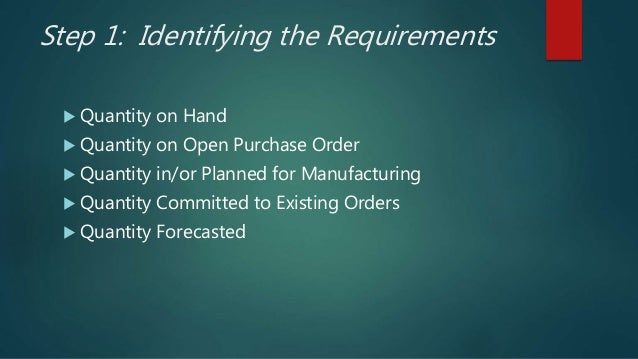 Step 1: Identifying the Requirements  Quantity on Hand  Quantity on Open Purchase Order  Quantity in/or Planned for Man...