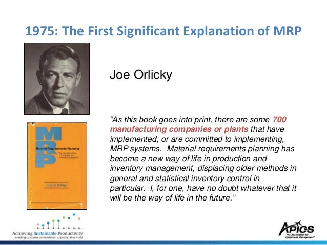 Orlickys Material Requirements Planning Pdf