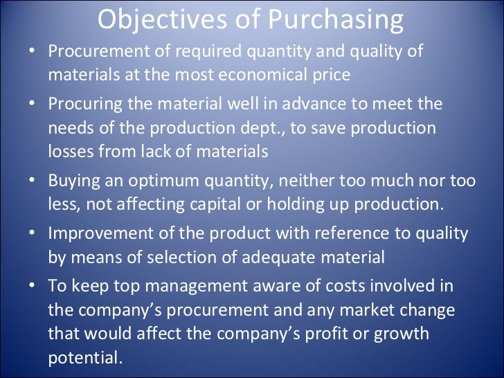 objectives of material control The objectives of a system of material control are the following : minimisation of the total cost involved, both for acquiring stocks (apart from the price.